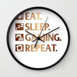 Eat. Sleep. Gaming. Repeat Wall Clock