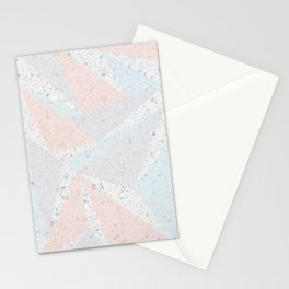 Soft terrazzo pastel with abstract geometric triangles Stationery Cards