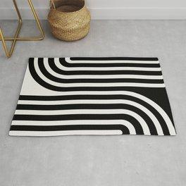 Minimal Line Curvature - Black and White III Rug