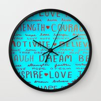 motivation Wall Clocks featuring Motivation by EileenAArt