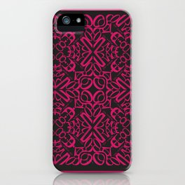 Courage of her Conviction Tiled - Fuchsia Black iPhone Case