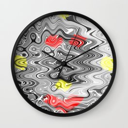 Absolute Abstract Grey Jiggle With Colour Splash Wall Clock