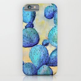 Prickly Pear In Blue-Barbara Chichester iPhone Case