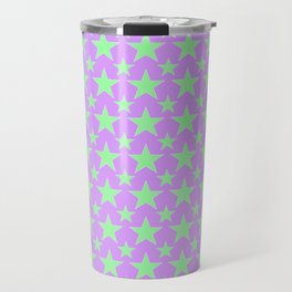 Green Star Pattern on Purple Travel Mug