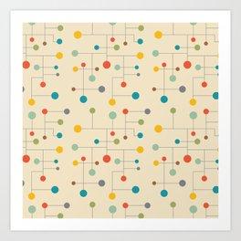 Mid-Century Dots Pattern Art Print