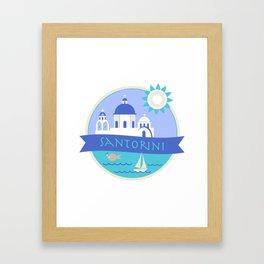 Santorini Greece Badge Framed Art Print