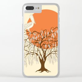 weeping willow, pelican and sun Clear iPhone Case
