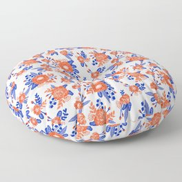 Florida floral orange and blue gators swamp varsity minimal university sports football fan Floor Pillow