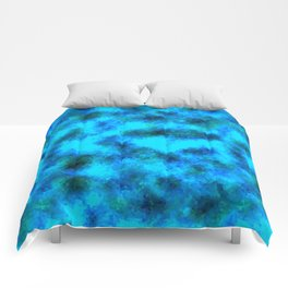 Stained Glass Camo -- Aqua Comforters