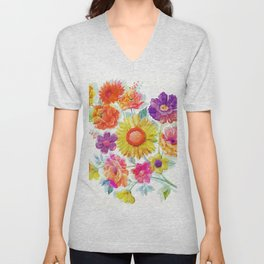 Colorful Watercolor Flowers Unisex V-Neck