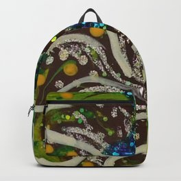 Green Brown and Blue Acrylic Painting Backpack
