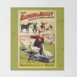Barnum and Bailey Circus Geese and musical donkey Throw Blanket