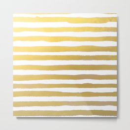 Gold Brushstroke Watercolor Stripes Metal Print