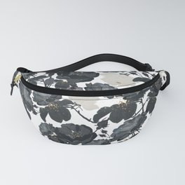 Hand drawn bohemian black and white roses glitter pattern Fanny Pack