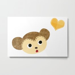 Monkey Baby with Heart Metal Print
