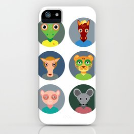 Chinese zodiac collection, Set of animals faces circle icons in Trendy Flat Style iPhone Case