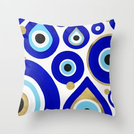 Evil Eye Charms on White Throw Pillow