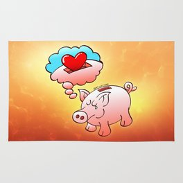 Piggy Bank Daydreaming of Hearts instead of Coins Rug