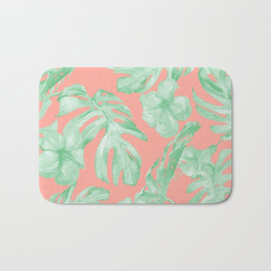 Tropical Palm Leaves Hibiscus Flowers Coral Green Bath Mat