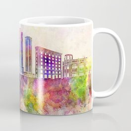 Fort Worth skyline in watercolor background Coffee Mug