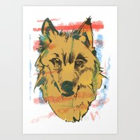howl Art Prints featuring HOWL by Galvanise The Dog