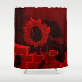 Thee Sunflower in Red by Mgyver Shower Curtain