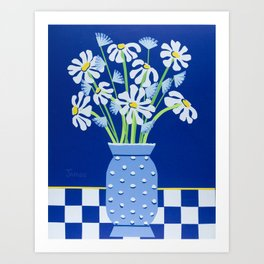 Daises In Hobnail Glass Art Print