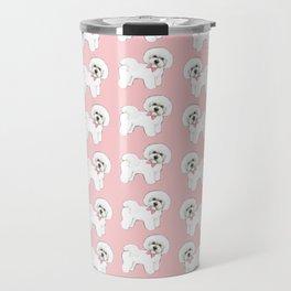 Bichon Frise pink bows christmas holiday themed pattern print pet friendly dog breed gifts Travel Mug