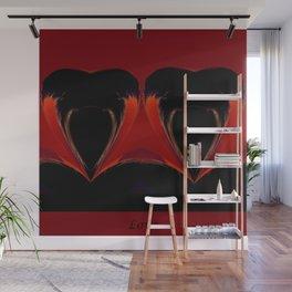 Two Flaming Hearts Wall Mural