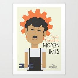 "Charlie Chaplin ""Modern Times"" movie poster, fine Art print, classic film with Paulette Goddard Art Print"
