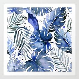 Tropical plants in indigo blue Art Print