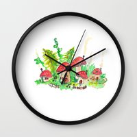 pixies Wall Clocks featuring Pixie Village by Binkfloyd