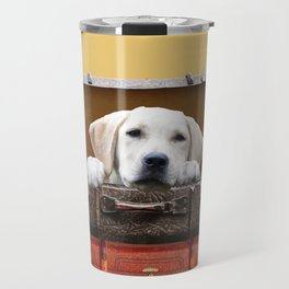 Golden Retriever in old suitcase looking Travel Mug