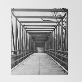 Bridge to Nowhere Black and White Photography Throw Blanket
