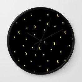 Gold Moons and Stars Wall Clock