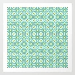 Mediterranean sky blue tiles Art Print