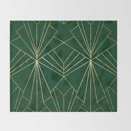 Art Deco in Gold & Green - Large Scale Throw Blanket