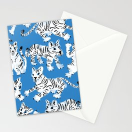 Mystical White Tigers at Play Stationery Cards