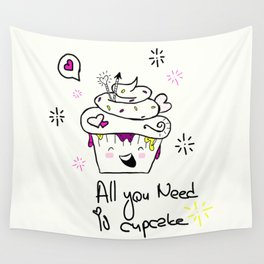 Happy Cupcake Wall Tapestry