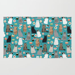Cat Sushi pattern by pet friendly cute cat gifts for pet lovers foodies kitchen Rug