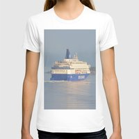 copenhagen T-shirts featuring Copenhagen To Oslo Ferry by Malcolm Snook