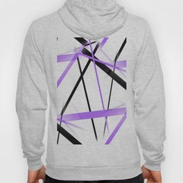 Criss Crossed Lilac and Black Stripes on White Hoody