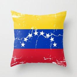 Venezuela flag design with grunge effect Throw Pillow
