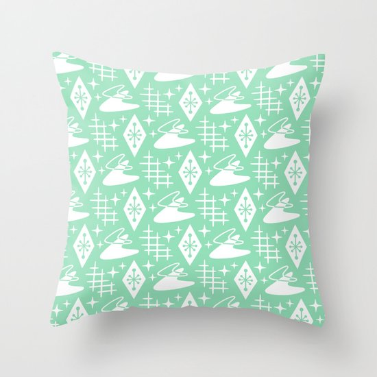 Mid Century Modern Boomerang Abstract Pattern Mint Green by tonymagner