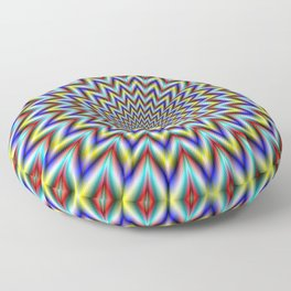 Pulsar in Red Yellow and Blue Floor Pillow
