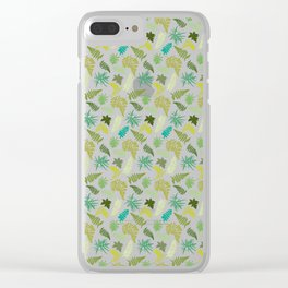 Forest Ferns Illustrated Pattern Clear iPhone Case