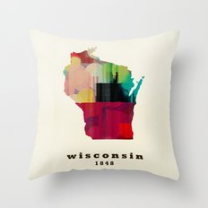 Wisconsin state map modern Throw Pillow