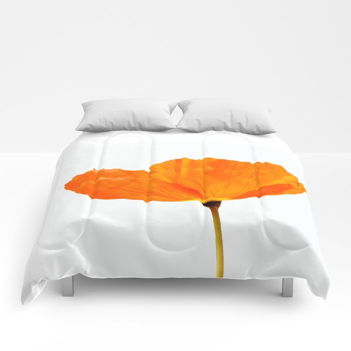One And Only - Orange Poppy White Background #decor #society6#buyart Comforters