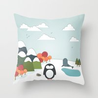 biology Throw Pillows featuring South Pole by General Design Studio