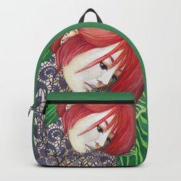 Green Leaves Purple Dress Red Hair Backpack